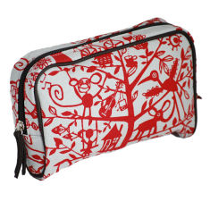 Tamelia cotton canvas Red Tree makeup bag