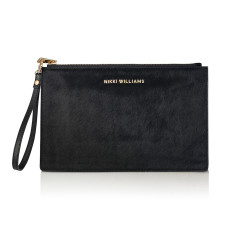 Capri Black Calfhair Clutch