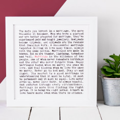 Marriage typographic print