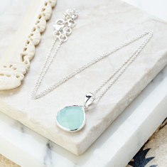 Hera pendant necklace with aqua chalcedony