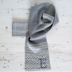 Embroidered Initial Winter Scarf