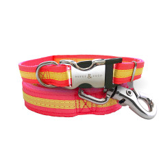Bronte Nylon Collar & Lead Set - Bright pink / Yellow