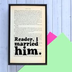 Wedding gift Jane Eyre quote - book page print