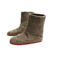 Women's felt slipper boots in brown