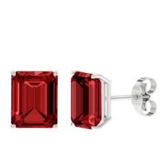 Ruby sterling silver stud earrings