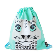 Green kids bag in snow leopard
