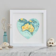 Australia map heart print