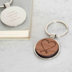 Personalised wooden heart arrow keyring