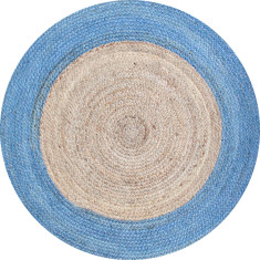 Jute braided rug in natural/light blue