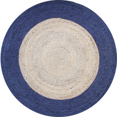 Jute braided rug in natural/navy