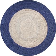 Jute braided rug in natural/navy