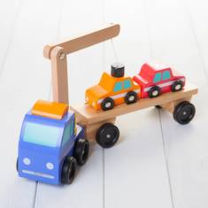 Personalised Toy Car Transporter With Loader Crane