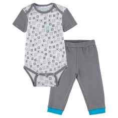Inside the box short sleeve onesie with grey pants