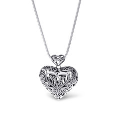 Large Sterling Silver Filigree Heart Pendant