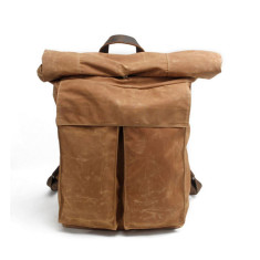 Canvas waterproof travel backpack weekend bag in tan