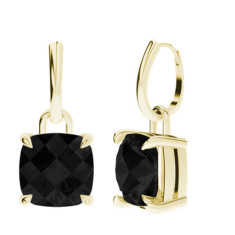 Onyx Cushion Checkerboard Yellow Gold Drop Earrings