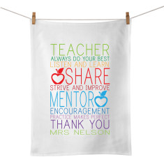 All about learning personalised tea towel