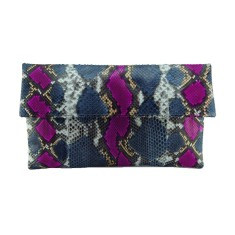 Denim blue and pink motif python leather classic foldover clutch