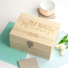 Personalised 21st Birthday Memories Keepsake Box