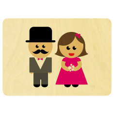 Mr and Mrs wooden card