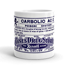 Carbolic acid vintage-style poison label mug