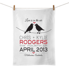 Birds On A Wire personalised tea towel