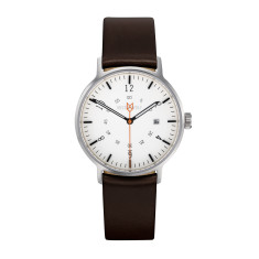 Silver 32mm watch with ebony brown leather band