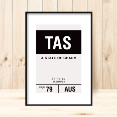 Tasmania luggage tag art print (more colours)