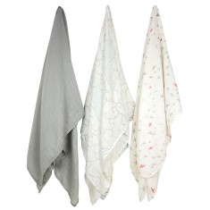 Weegoamigo bamboo muslin swaddle For the Birds design (3 pack)
