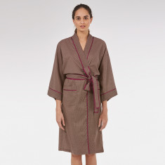 Wrap Over Kimono Robe in Grape Dapple print