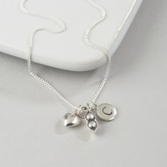 Love and Peas Necklace with Two Initials
