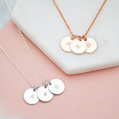 Personalised Mother's day hand stamped initial and ampersand or heart discs necklace
