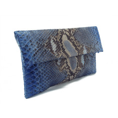 Denim blue motif python leather classic foldover clutch