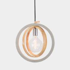 Timber Circular Concrete Pendant Light