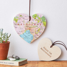 Personalised map location wooden hanging heart