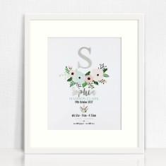 Silver Mirror Flowers Personalised Birth Details Print