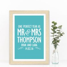 Personalised Mr & Mrs wedding anniversary print