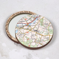 Personalised map location pocket mirror