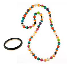 Wonderland 2 tone long necklace + bangle matching set