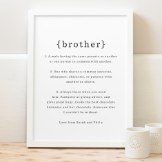 Personalised brother definition print (various colours)