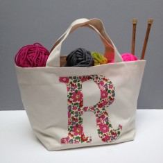 Liberty print applique knitting bag
