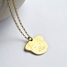 Personalised Gold Fido Dog Face Necklace