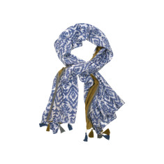 My Softest Cotton Scarf: Aztec Blue Design With Tassels