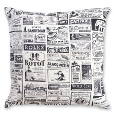 French Advertisements linen cushion cover