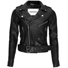 Black lambskin leather biker jacket