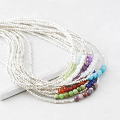 Silver Birthstone Necklace With Semi Precious Stones