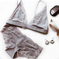 Nude Bralette and Hipster Knickers