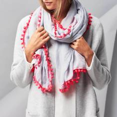 Personalised pom pom scarf