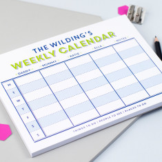 Personalised family weekly calendar notepad