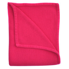 Wave knit luxury cotton baby blanket in hibiscus pink